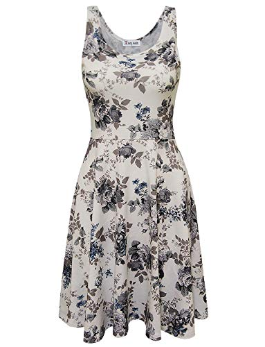 TAM WARE Womens Casual Fit and Flare Floral Sleeveless Dress TWCWD054-WHITEGRAY-US XXL