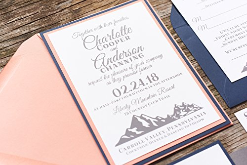 Rustic Mountain Wedding Invitation, Navy Coral and Grey Wedding Invitation Set, Custom Wedding Invite, SAMPLE Charlotte, Rustic Wedding Suite with RSVP and Enclosures
