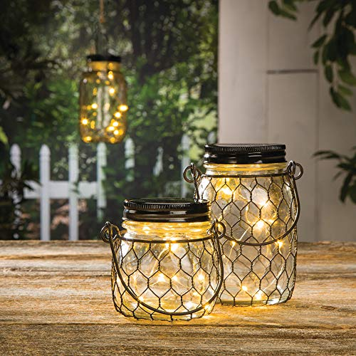 Diva At Home Set of 4 Clear Decorative Cylindrical Jars with Handle and LED Lights 3.75