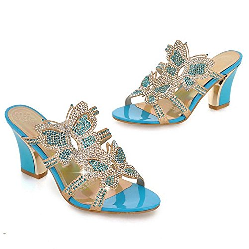 Talon Bloc Les Chaussures Les Pantoufle Femmes Bloc Talon De Coolcept Femmes Pantoufle Bleu Chaussures De Coolcept wv6FF1nCTx