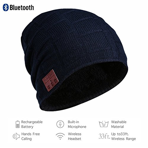 Price comparison product image Usitek Wireless Bluetooth 4.2 Beanie Hat Music Cap Musicphone Speakerphone Stereo Headphone Headset Earphone Speaker Mic Outdoor Sport Skiing Skating with Charger USB Cable Hat for Women Men.