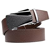 Jun Xiang Men's Genuine Leather Belt with Automatic Buckle, Black/Brown, 35mm Wide 1 3/8 inch--Great Gift Idea (Brown Clemence-Style 4)