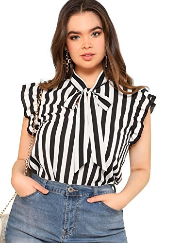 Floerns Women's Summer Plus Size Bow Tie Striped Chiffon Blouse Top Black and White 2XL