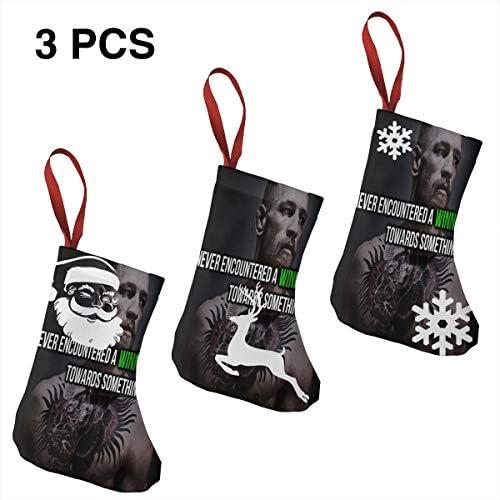 クリスマスの日の靴下 (ソックス3個)クリスマスデコレーションソックス コナーマクレガーConor McGregor クリスマス、ハロウィン 家庭用、ショッピングモール用、お祝いの雰囲気を加える 人気を高める、販売、プロモーション、年次式