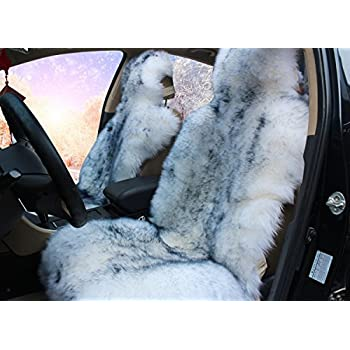Faux Fur Sheepskin Seat Cover Universal Fit Front Gray Tip