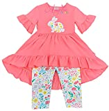 Boutique Clothing Girls Easter Bunny Floral Hi-Low Tunic Capri Set Coral 6/XL