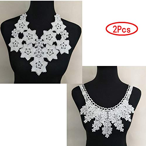 (2 Pcs White Lace Collar Sexy Style Flower and Heart Venetian Lace Decoration Decoration Lace Fabric Sewing Accessories DIY (Color 2))