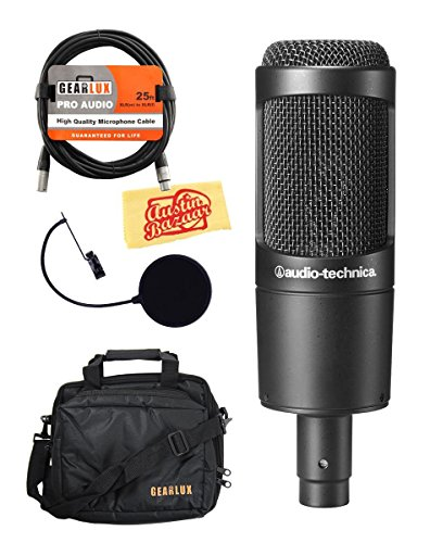 Audio-Technica AT2035 Large Diaphragm Studio Condenser Microphone Bundle with Gearlux Gear Bag, Pop Filter, Shock Mount, XLR Cable, and Polishing Cloth