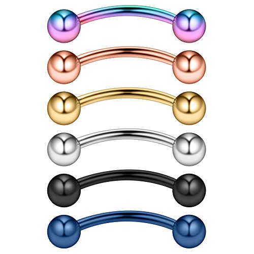 Ruifan 6PCS Assorted Colors Eyebrow Piercing Jewelry Curved Barbell Snake Eyes Tongue Navel Belly Tragus Lip Ring 14g 14 gauge 14mm