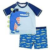 Gogokids Boys' 2-Piece Swimsuit Trunk and Rashguard Set UPF 50+ UV Sun Protective Swimwear for Toddler Kids 2-8 Years