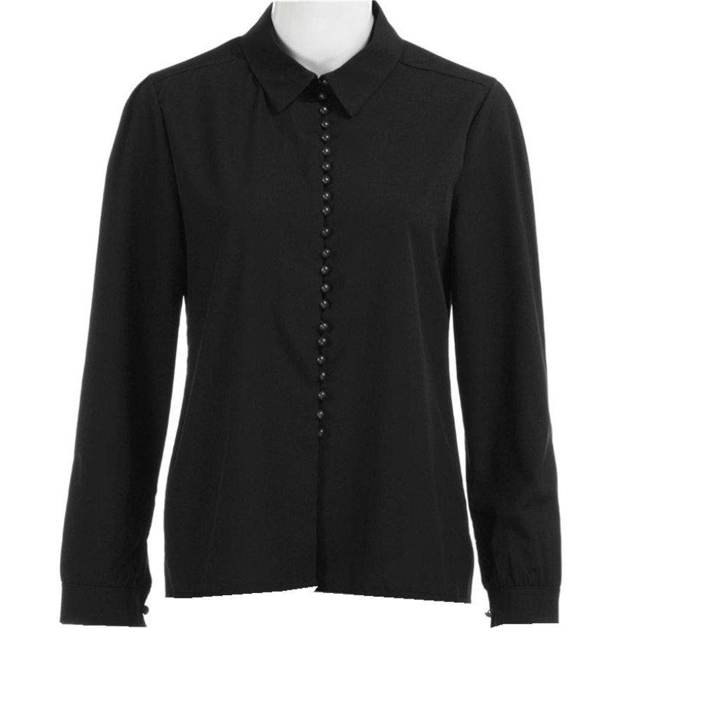 SMARTLADY Mujeres Casual sólido manga larga blusa camisa de solapa