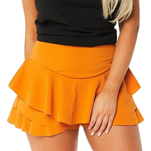 - iYYVV Womens Layered Ruffled Pleated Skorts High Waisted Mini Scooter Shorts Skirt
