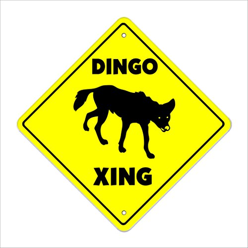 "Dingo Crossing Sign Zone Xing | Indoor/Outdoor | 12"" Tall australia outback dog"