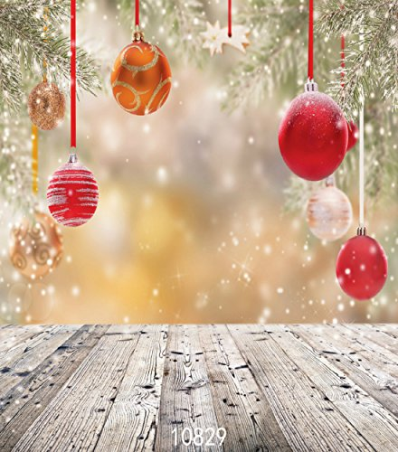 10X20FT-Christmas Ball Snow Sence Party Decoration Photography Backdrops Wood Floor Studio Photo -