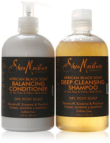 Shea Moisture African Black Soap Shampoo & Conditioner Set, 13 Ounce Each