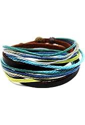 Coolla Men's Adjustable Brown Leather Multicolor Ropes Bracelet Cuff