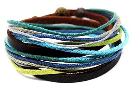 Coolla Men's Adjustable Brown Leather Multicolor Ropes Brace...