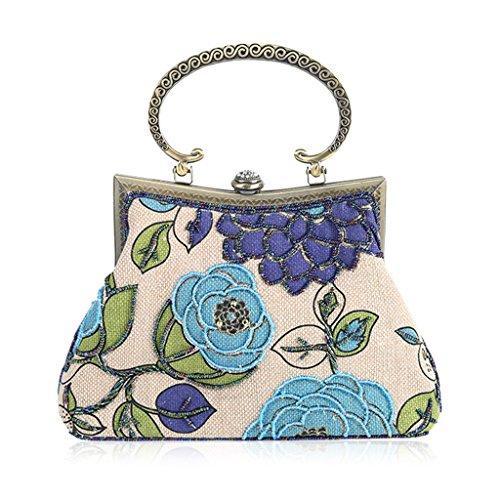 Evening Embroidery Blue Beaded Blue Women Bag Clutch Handbag Cocktail Purse Lady Shoresu Party RqEII