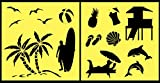 Auto Vynamics - STENCIL-BEACHSET01-10 - Detailed Beach & Ocean Life Stencil Set - Includes Sea Shells, Gulls, Surfers, & More! - 10-by-10-inch Sheet - (2) Piece Kit - Pair of Sheets