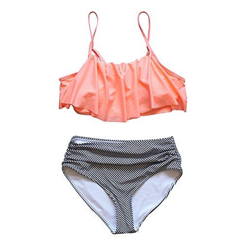 Bikini American Swimwear Full Bottom (Zando Women Vintage High Waist Bikini Swimsuit Ruffled Flounce Two Piece Bathing Suit for Women Orange L (US Size 10-12))