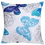 LivebyCare Velvet Floral ButterflyPrinting Stuffed Throw Pillow 18x18 Inch PP Cotton Insert Rayon Velvet Chair Waist Cushion Zipper for Decorative Home Bed Sofa Waist Back Support