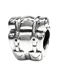 .925 Sterling Silver Camping Picnic Backpack Bead For European Chamilia Biagi Troll Pandora Charm Bracelets