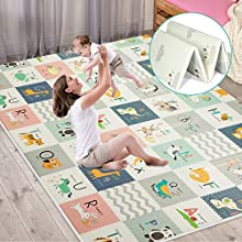 FLAGAV Baby Play Mat, Extra Large Folding Baby Crawling Mat, Waterproof Reversible Playmat Foam Non Toxic Anti-Slip Portable Kids Play Mat for Infant, Toddler (Yellow Packaging)