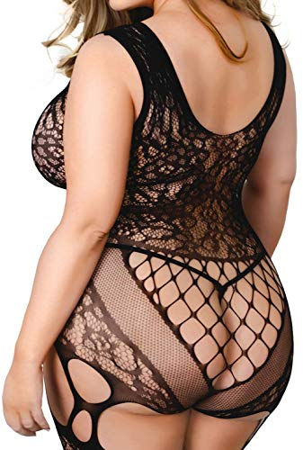 Yelete Killer Leg Women One Size/Plus Size Exotic Mini Dress Babydoll Bodystocking (One Size, Scoop Neckline Lavish Lace Full Body)