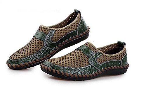 Bomba Ponerse Mocasín Hilado de red Malla Sandalias Casual Zapatos Hombres Respirable Hueco Patrón de cocodrilo Pedal Zapatos Zapatilla Conducción Zapatos Zapatos perezosos Tamaño de la UE 38-46 Green