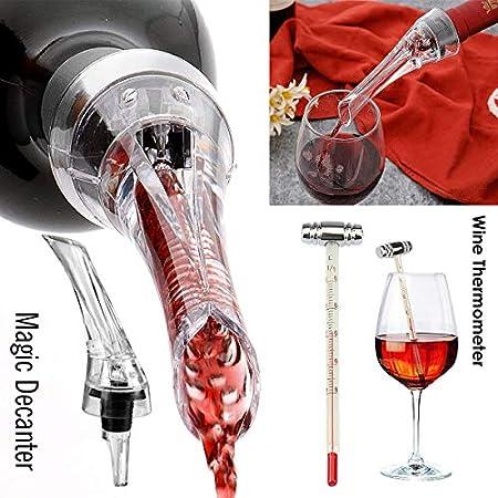 RERXN Caja de madera para vino con superficie brillante, juego de abrebotellas de vino de conejo, juego de sacacorchos de vino, tapón de vino y vertedor de vino (rojo 02)