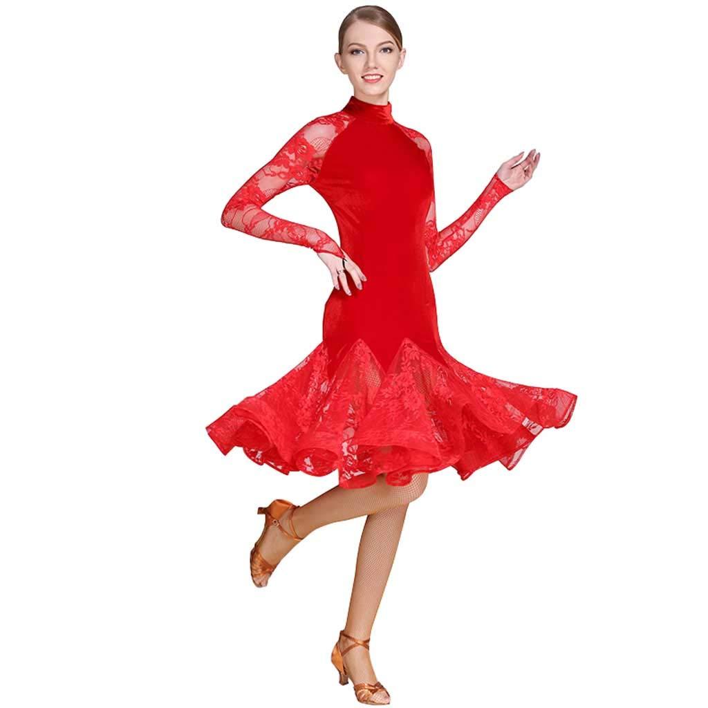 レッドラテンダンスドレス、コスチュームアダルトナイロンラテンダンスドレス B07H7K76RX レッド XL
