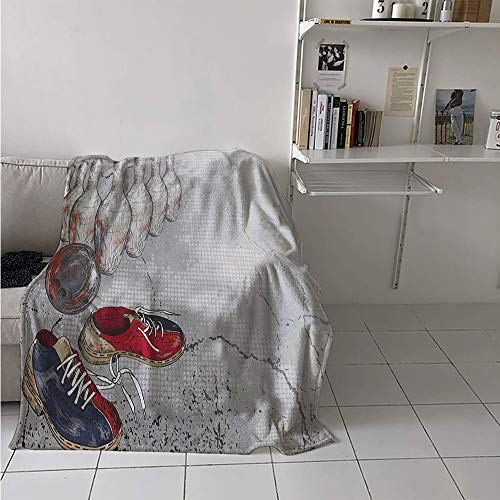 Maisi Lightweight Blanket, Bowling Shoes Pins and Ball in Artistic Grunge Style Print, Throw Blanket for Kids 50x30 Inch Pale Grey Red and Dark Blue ()