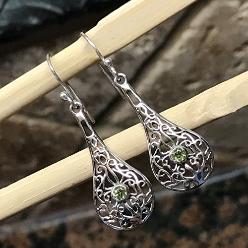 Genuine Apple Green Peridot 925 Solid Sterling Silver Filigree Earrings 40mm