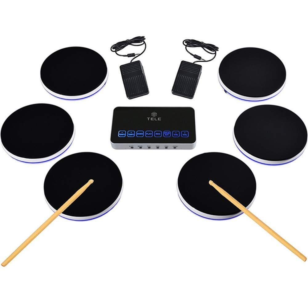 XINGXIANYIGOU Electronic Percussion pad, Folding Silicone Electronic Drum, Hand Drum Drum Stereo Walkie-Talkie Portable Damping Electronic Drum for Beginners
