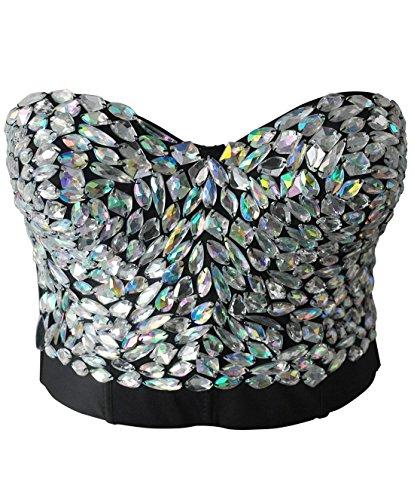 Bslingerie Madonna Style Metallic Studs Bustier Bra Corset Top (M, Color-Change Crystal) Metallic Bra Top