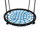 """Swing Set Accessories RESTAR Fabric Saucer Spinner Swing Easy Install on Swing Set or Tree Polyethylene Rope with Steel Frame 24""""(Black/Blue)"""