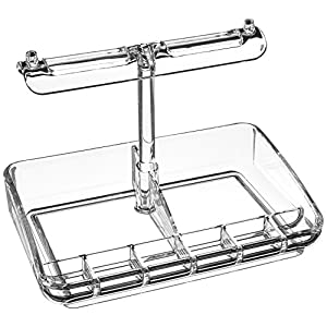 Mind Reader Acrylic 9 Compartment Jewelry Stand Organizer, Clear