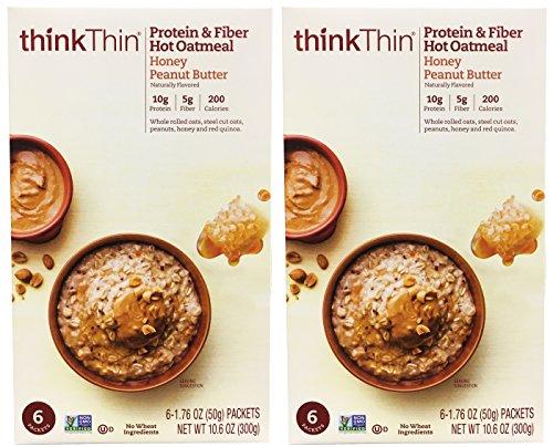 Natural Honey Oatmeal - ThinkThin Hot Oatmeal Honey Peanut Butter (6-1.77oz packets per box) (Honey Peanut Butter, 2 Boxes)