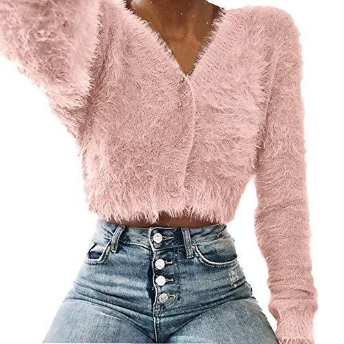 (CUCUHAM Women Fashion V-Neck Long Sleeve Furry Casual Sweater Crop Popular Women)