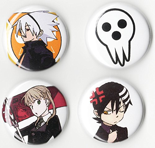 Soul Eater Button Set (4 PCS Pack) 1 INCH PIN Back Anime - http://coolthings.us