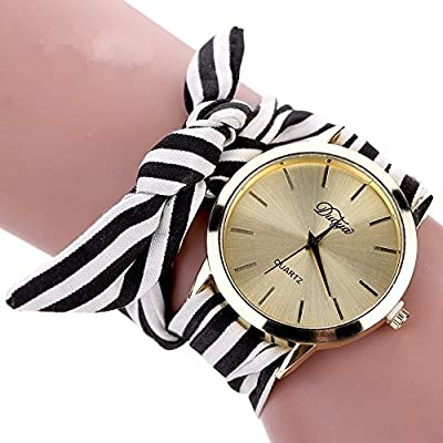 YAMULA Hot Selling Women's Bow Bracelet Wristwatch, Black and White Fabric Stripe Bracelet Watch