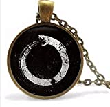 Ouroboros Necklace,Black Snake Jewelry, Pendant...