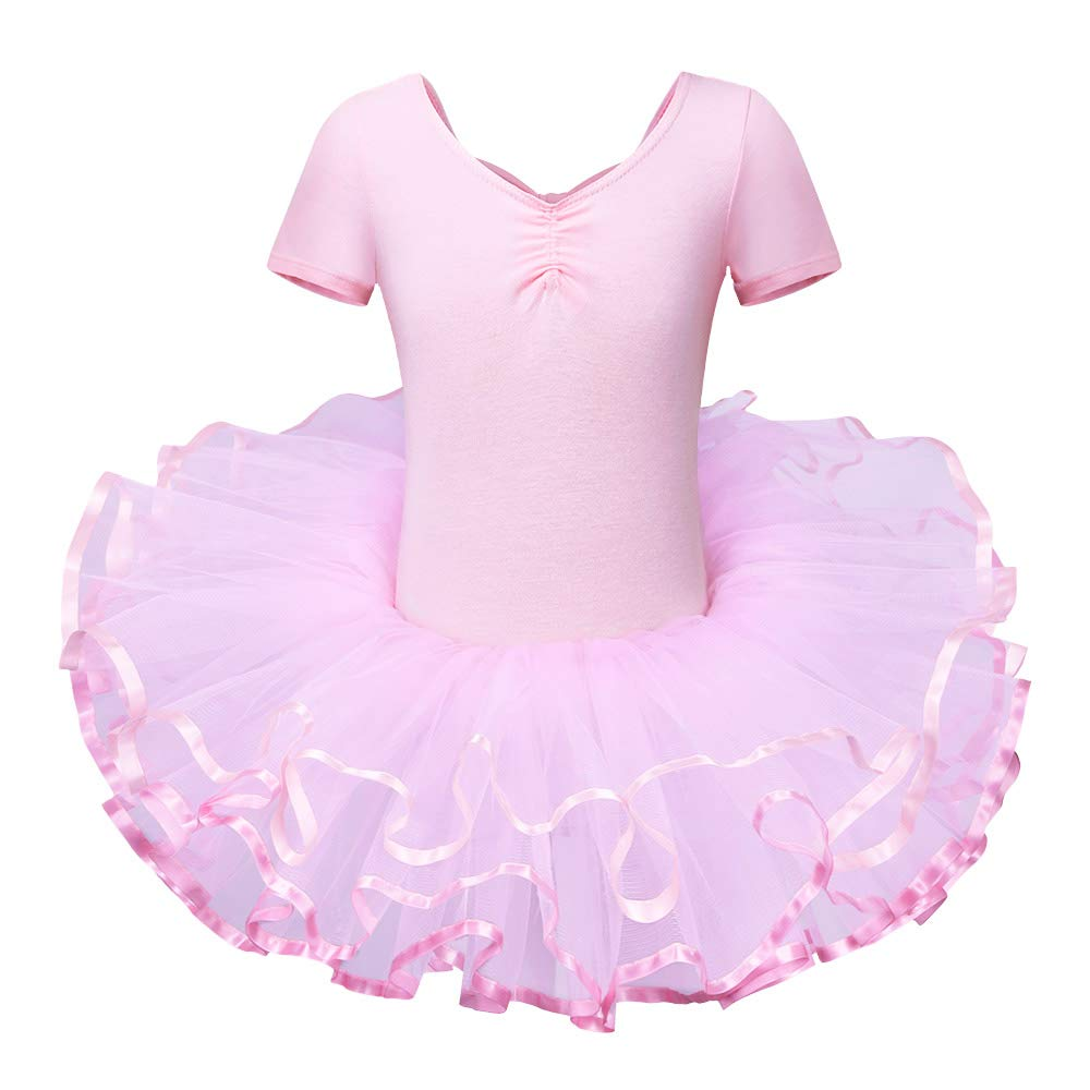 BAOHULU Leotard for Girls Ballet Dance Short Sleeve Full TulleTutu Skirted Dress Ballerina Costumes (4-5 Years(Tag No.L), Pure Pink) by BAOHULU