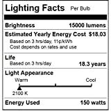 Sunlite 03635-SU LU150/MOG 150 Watt HPS ED23 High Pressure Sodium Light Bulb, Mogul Base, Clear