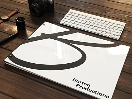 (11x14 Landscape Glossy White Portfolio. Portfolio Book, Screw Post Portfolio, Portfolio Presentation. Engraving Services are not Included. (Black)