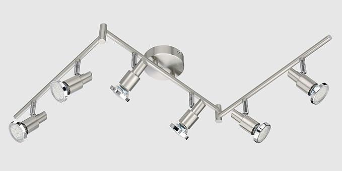 – Lámpara LED de techo (6 focos, 6 x 3 W de color blanco cálido, Foco de Techo con articulaciones