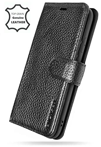 Encased Genuine Leather Folio Wallet Case - Designed Samsung Galaxy Note 9 (2018) 4 Credit Card Slots + Large Cash Pocket (Pebble Black)