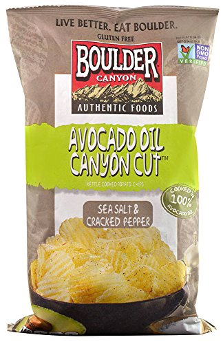 Boulder Canyon Authentic Foods Avocado Oil Canyon Cut™ Kettle Cooked Potato Chips Sea Salt & Cracked Pepper --