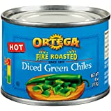 Ortega Diced Green Chiles, Hot, 4 oz (Pack of 24)
