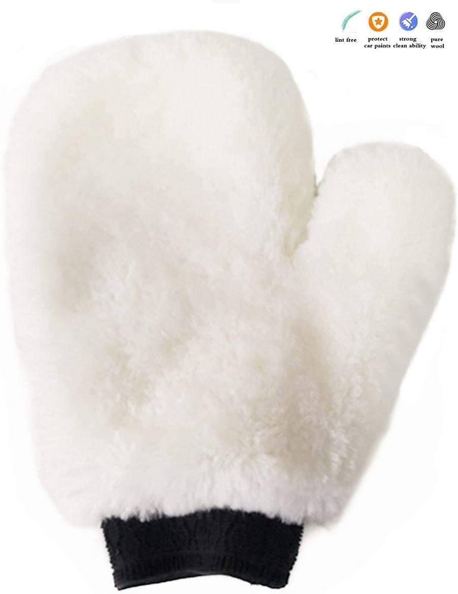 Gracefur Car Wash Mitt Real Lambswool Sheepskin Wax Wash Glove Ultra-soft Scratch and Lint Free for Auto Car White With Fingers 1 pack